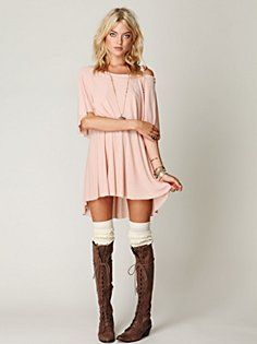 Casual dress, socks, boots. doesn't get simpler than that.