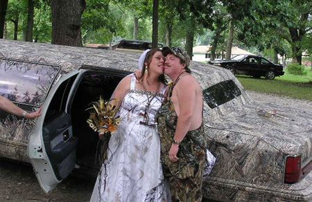 redneck wedding camouflage limousine with some good ol toungue action gross