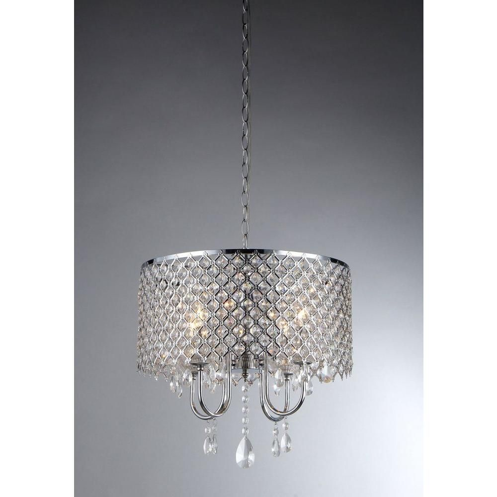 This 3 Light Polished Chrome Chandelier From The Home Depot Will Enhance The Modern Sophistication I Chrome Chandeliers Warehouse Of Tiffany Crystal Chandelier