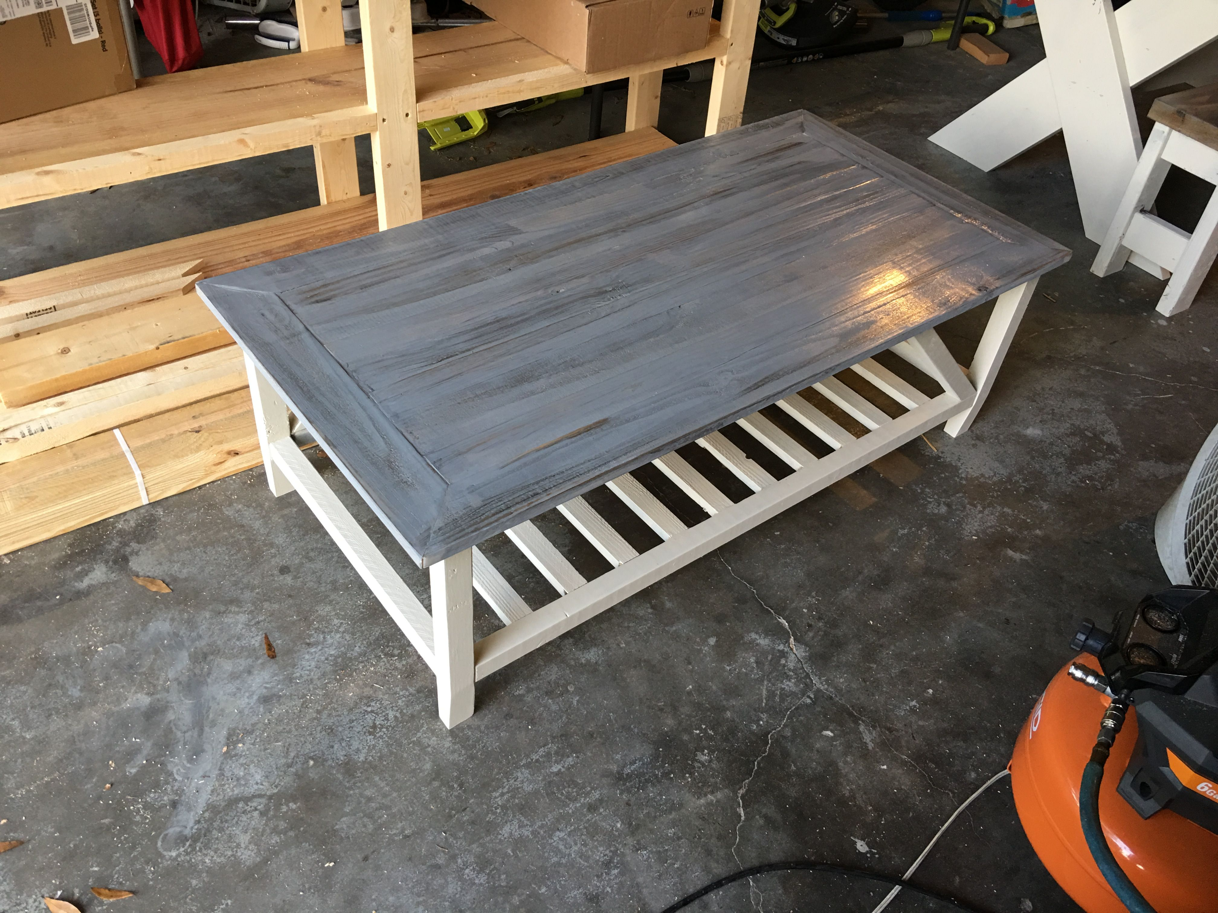2 X 4 Coffee Table W A Dark Jacobean Base Stain And A Grey Top
