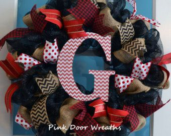 Made to Order - Wreath Door MONOGRAM initial welcome mesh ribbons black brown burlap red chevron white hospital baby decor letter