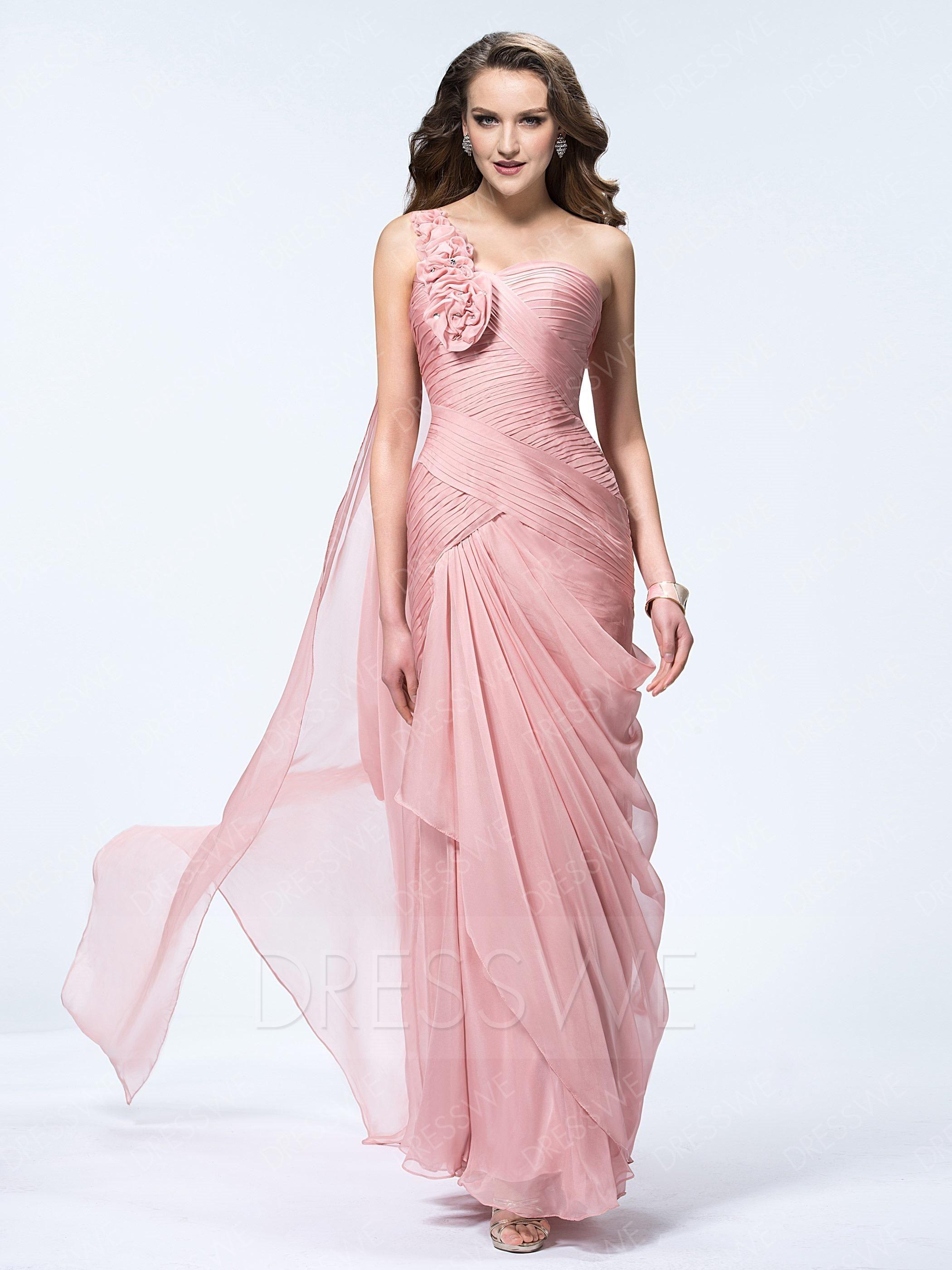 DressWe - #DressWe Floral One Shoulder Sheath Floor Length Chiffon ...
