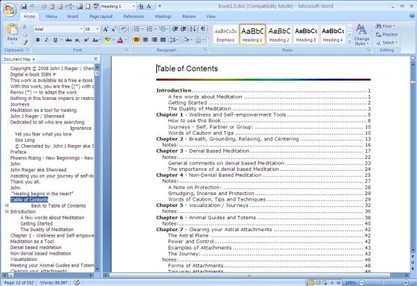 Create A Table Of Contents In Word Words Word 2007 Table Of Contents
