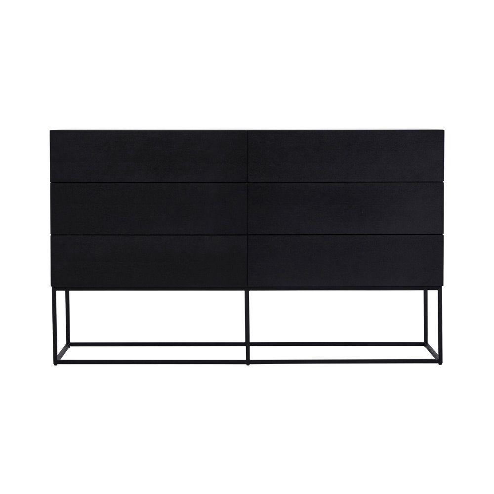 Modern Designer Balmain 6 Drawer Dresser Black Ash B Living