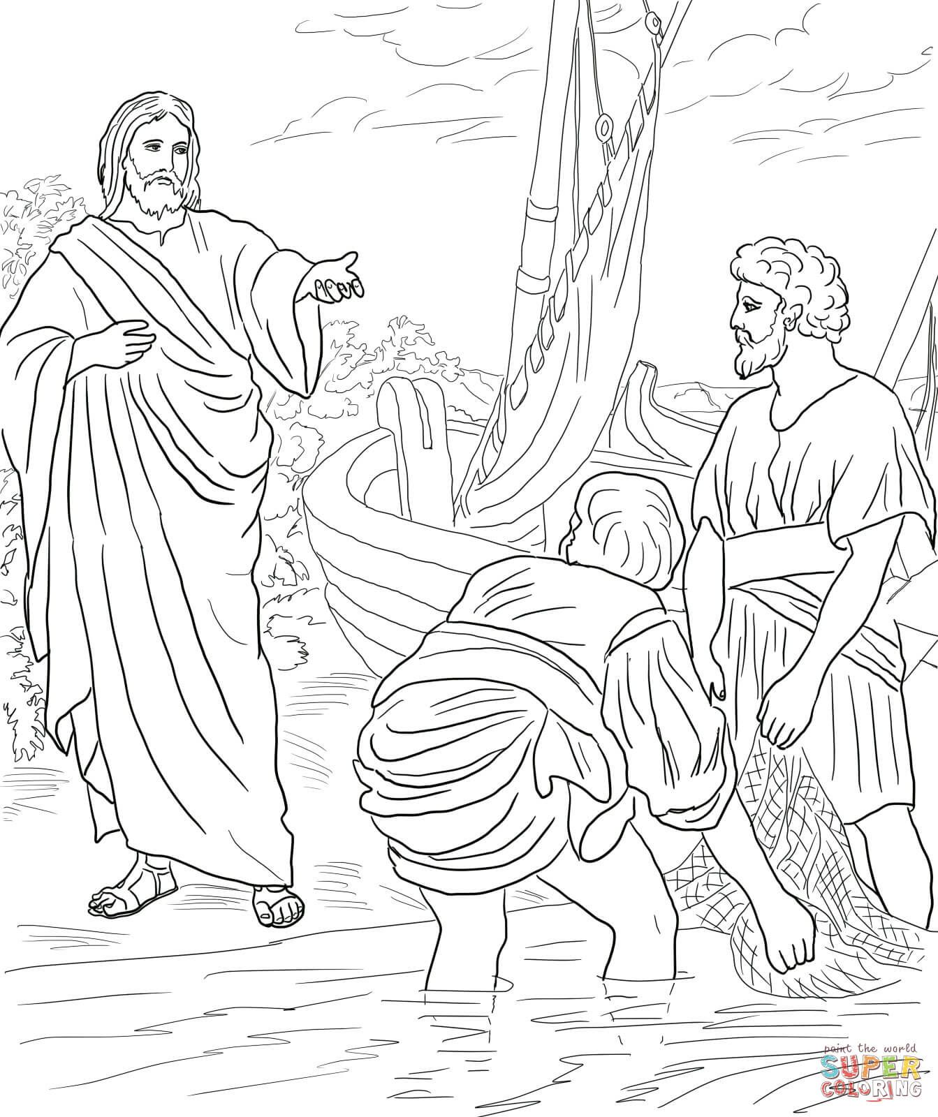 Jesus Calls The First Disciples Coloring Page Free Printable