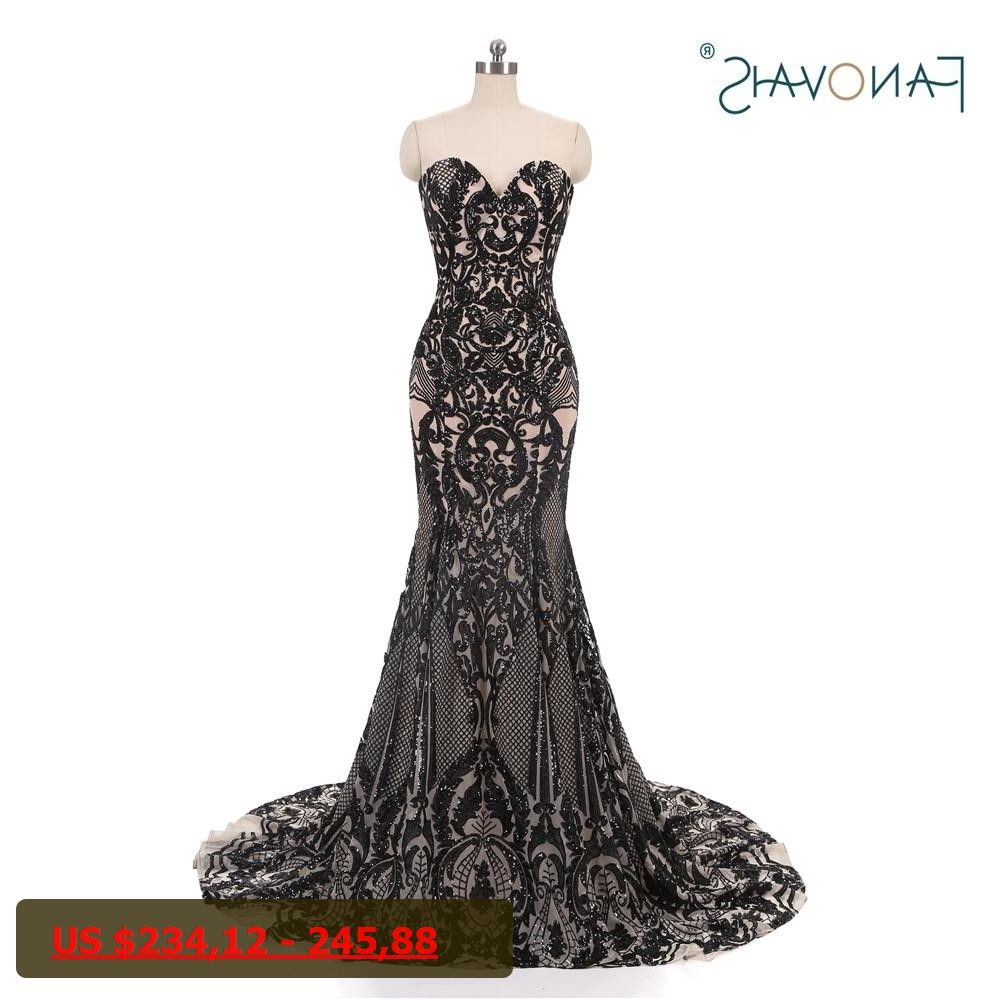 Fashion multi color sequin evening dresses long sweetheart lace