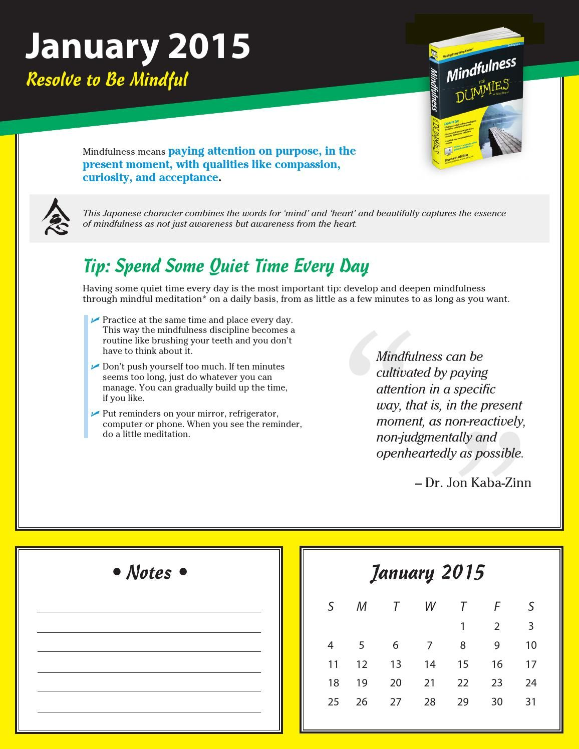 A Year Of Mindfulness For Dummies Calendar