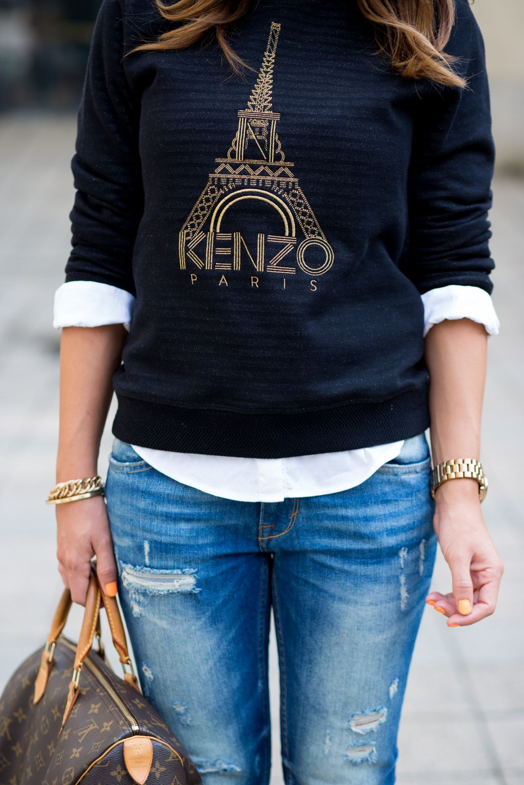 3a3da8f3 Kenzo navy blue Eiffel tower print jersey over white shirt + jeans and  Louis Vuitton handbag