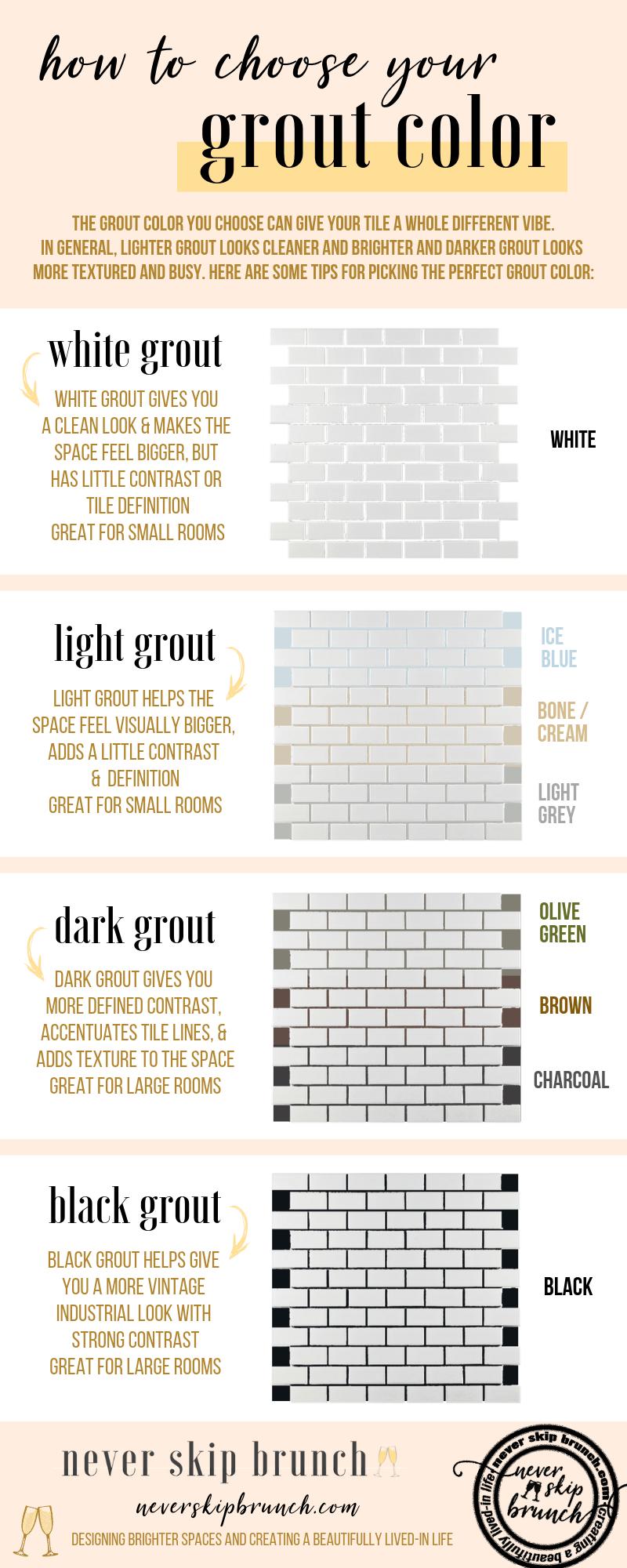 grout color white subway tiles