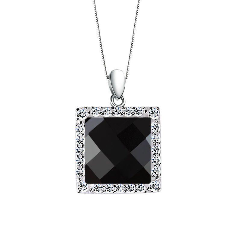 Achat Anhänger schwarz 925 Silber mit Zirkonia Collier Kette Edel