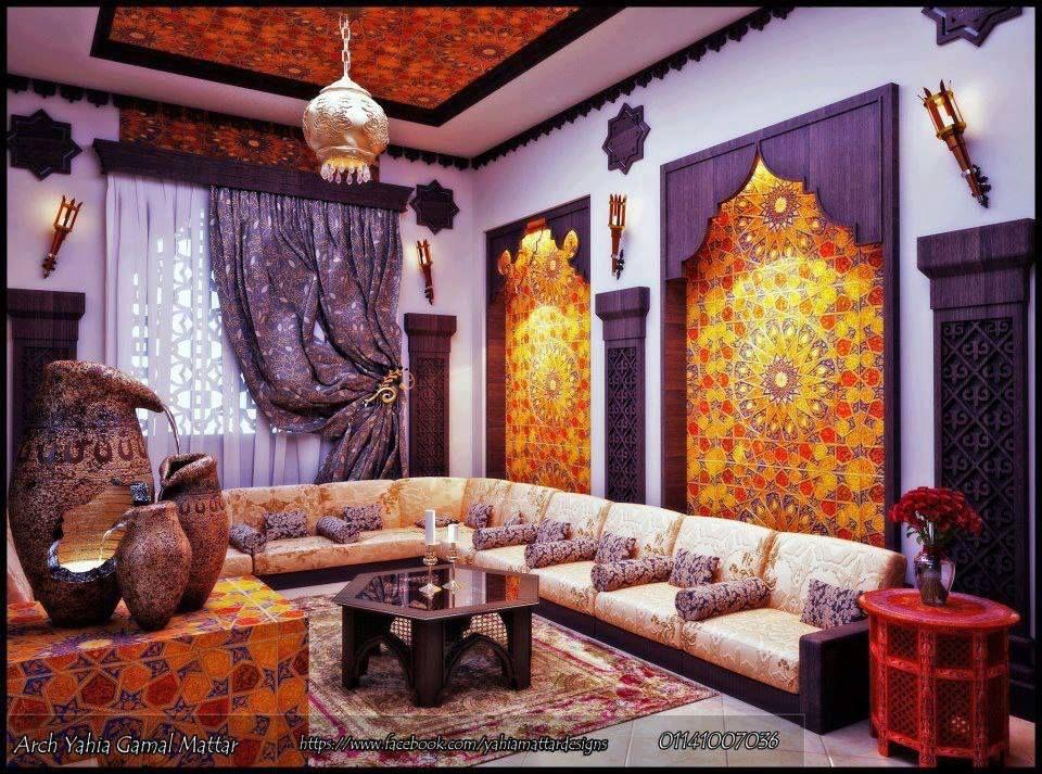 Salon Marocain Traditionnel (Marron et touche de Turquoise) de - deco salon rouge et blanc