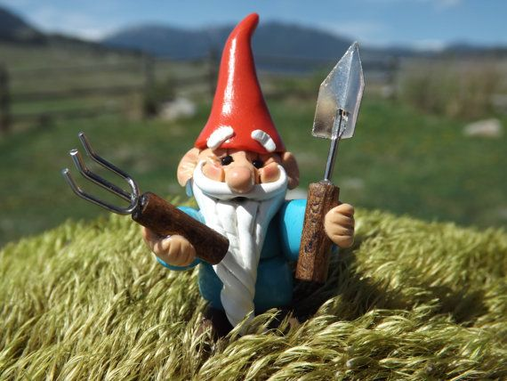 Tiny GARDEN GNOME With Miniature Garden Tools Ready By Zzzengirl, $14.00