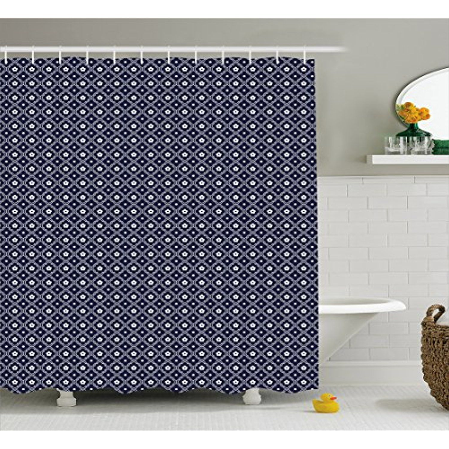 Navy Blue Shower Curtain By Ambesonne Chinese Inspired Curved