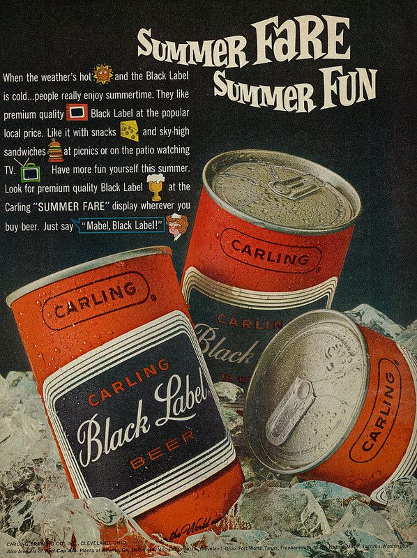 Carling Brewing Co CARLING BLACK LABEL BEER 1960s COASTER Cleveland OHIO Mat
