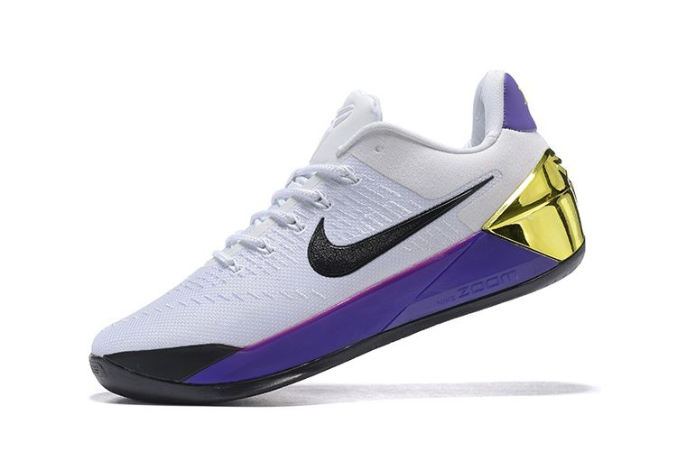 hot sale online 9addd 8edea Genuine Nike Kobe A.D. 2017 NBA Playoffs 81 Points Lakers Home White Gold  Purple