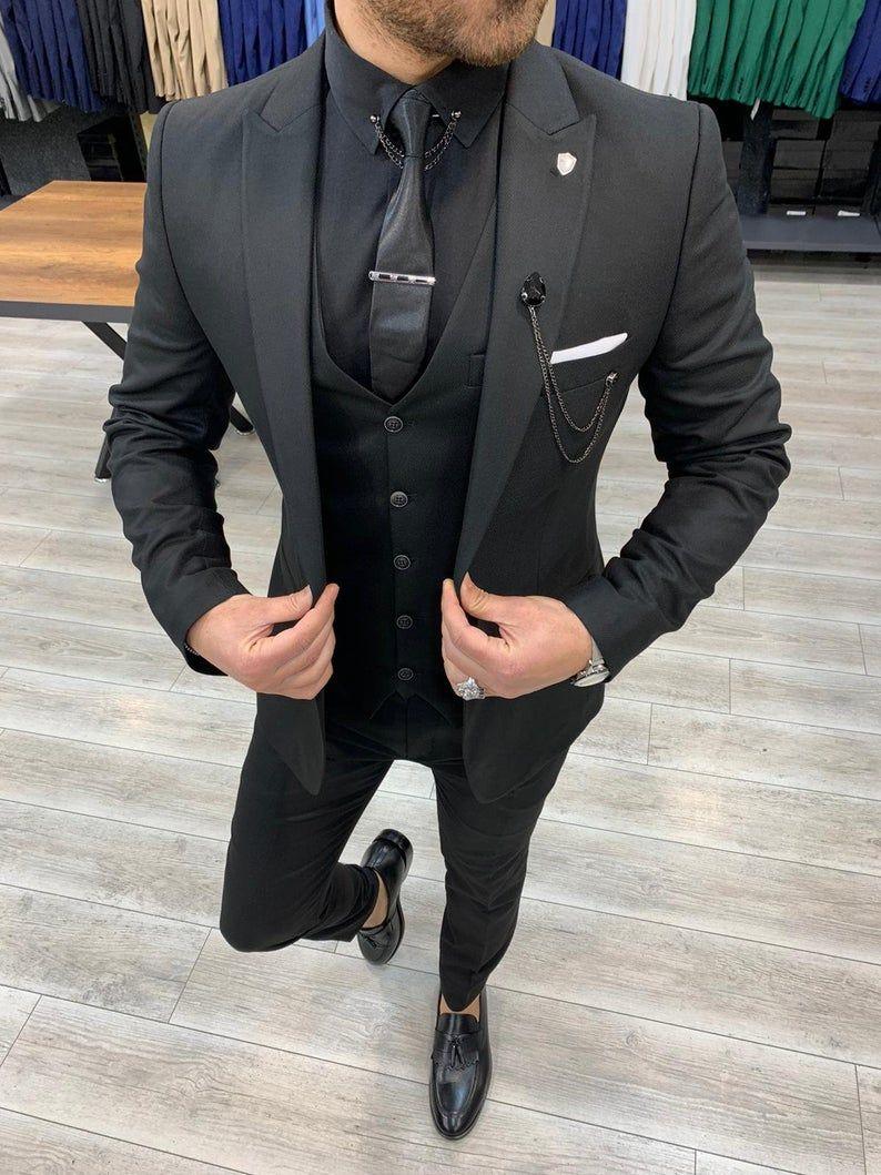 Men Suits Black 3 Piece Slim Fit One Button Wedding Groom Etsy In 2021 Black Suit Men Men Suits Black All Black Mens Suit [ 1059 x 794 Pixel ]