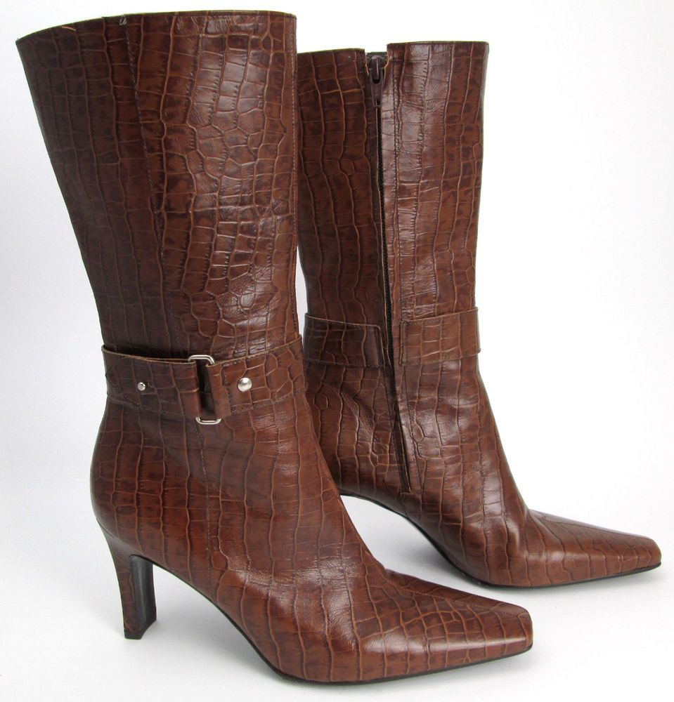 50d01678855 Gianni Bini boots 7.5 M mid-calf brown leather crocodile embossed ...