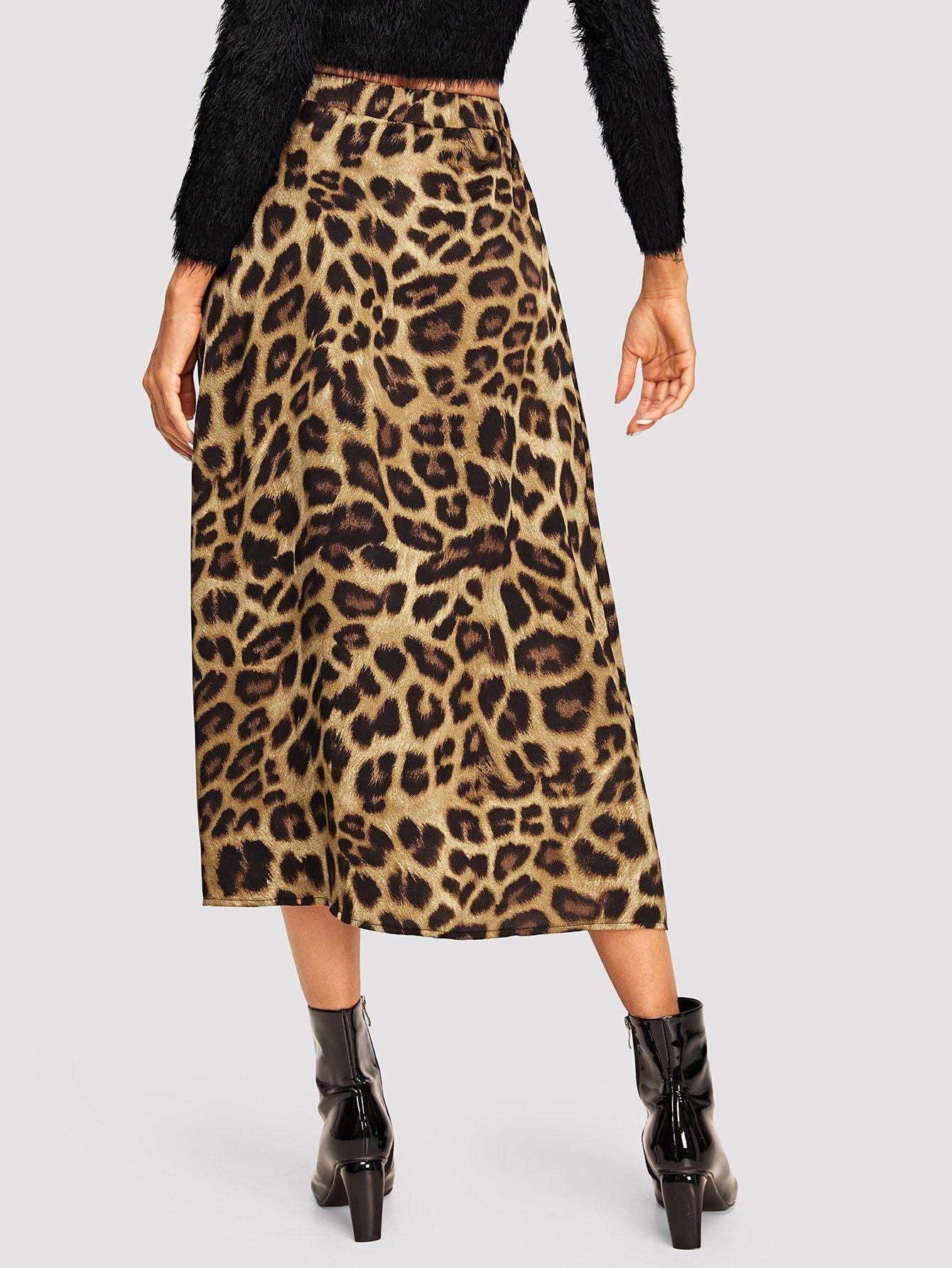 ab1ecf9b3c7915 Elastic Waist Leopard Print Skirt Waist#Elastic#Leopard Leopard Print Skirt,  Women's Skirts