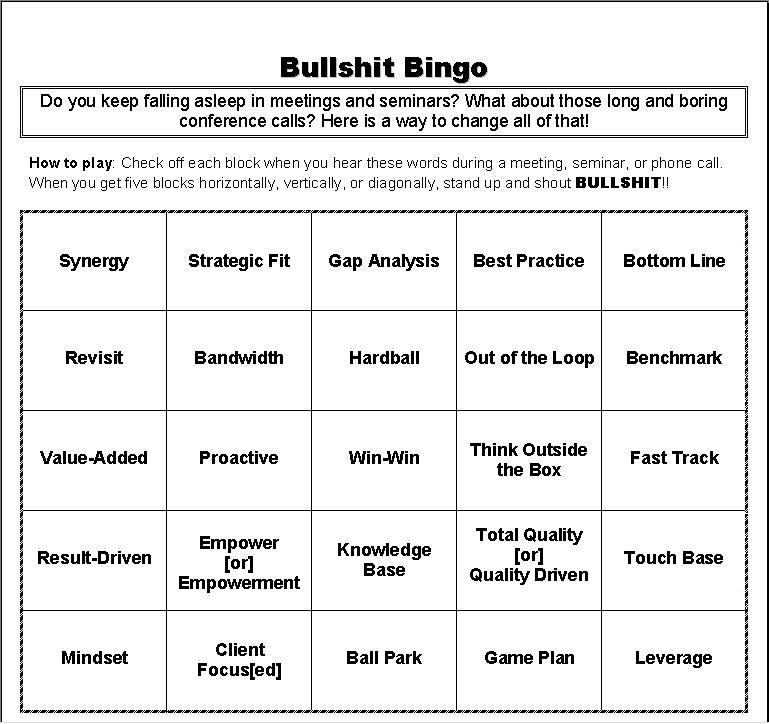 Bingo At The Office Meetings Make Them More Interesting