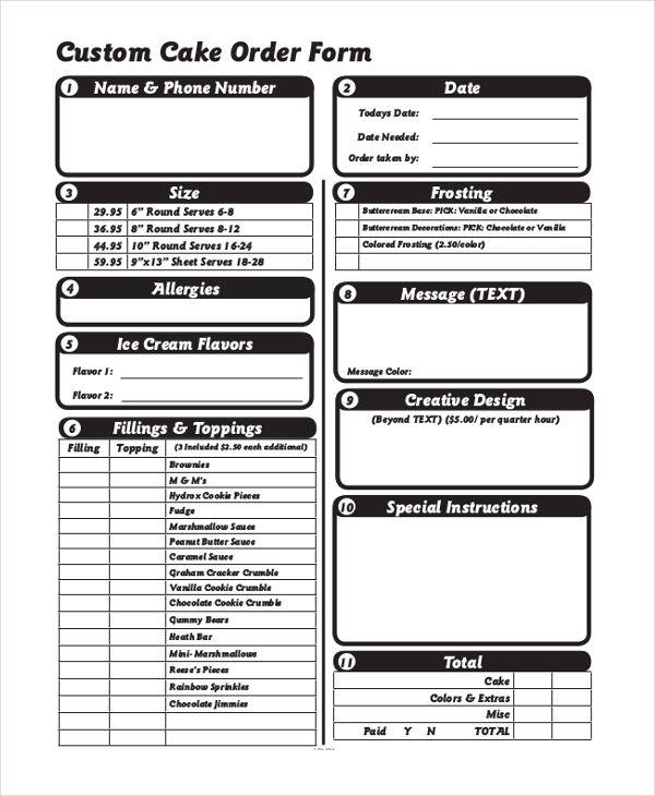 Custom Cake Order Form Cake order forms Pinterest Order form