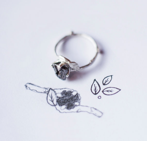 b1e0a919183f4 Meteorite Ring with Sterling Silver and Campo del Cielo - Swirly ...