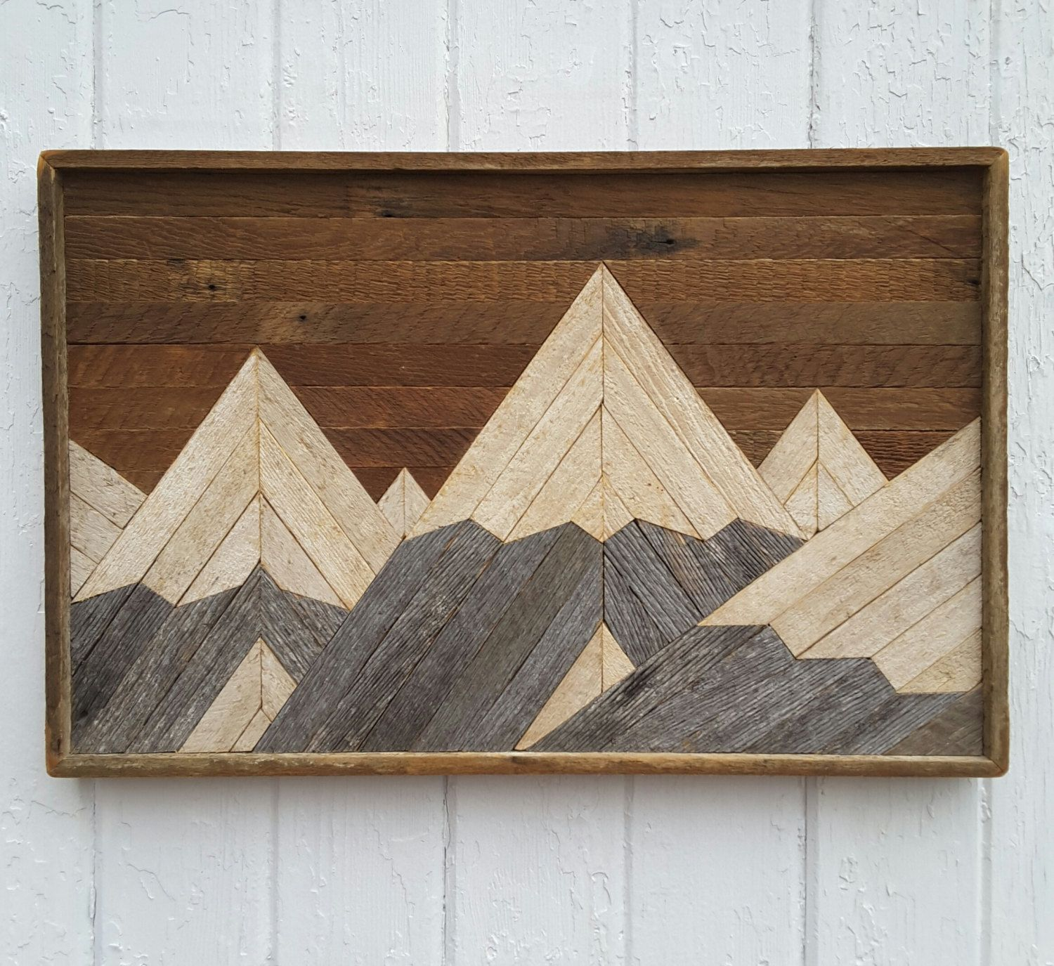 Past Reclaimed Wood Wall Art Mountain Range Lath Art Shabby Chic