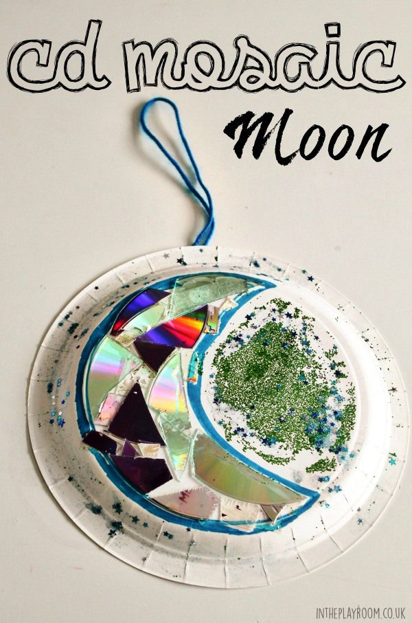 CD Mosaic moon paper plate craft. Works as a Ramadan decoration or activity with the crescent moon