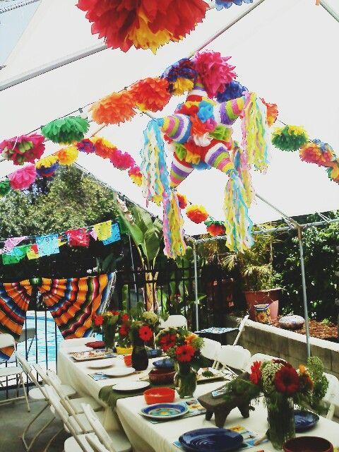 Colorful Cinco De Mayo  b-day decor. Entire cost under 150.