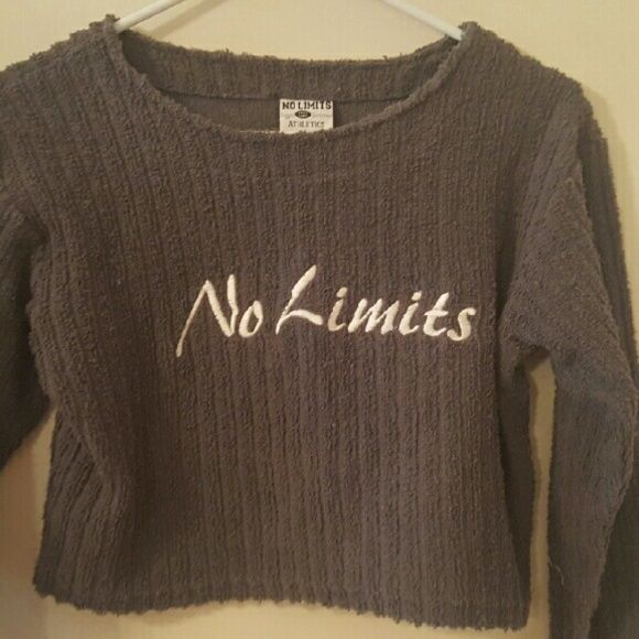 """vintage """"no limits"""" crop shirt size small. gray ribbed sweater type long sleeve it says """"no limits"""" in white on the front. brand is no limits, unif used for viewing purposes!. cropped. UNIF Tops Crop Tops"""