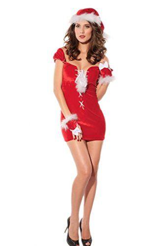 La vogue Damen Weihnachten Kostüm Cosplay Stretchkleid Off-Schulter Minikleid