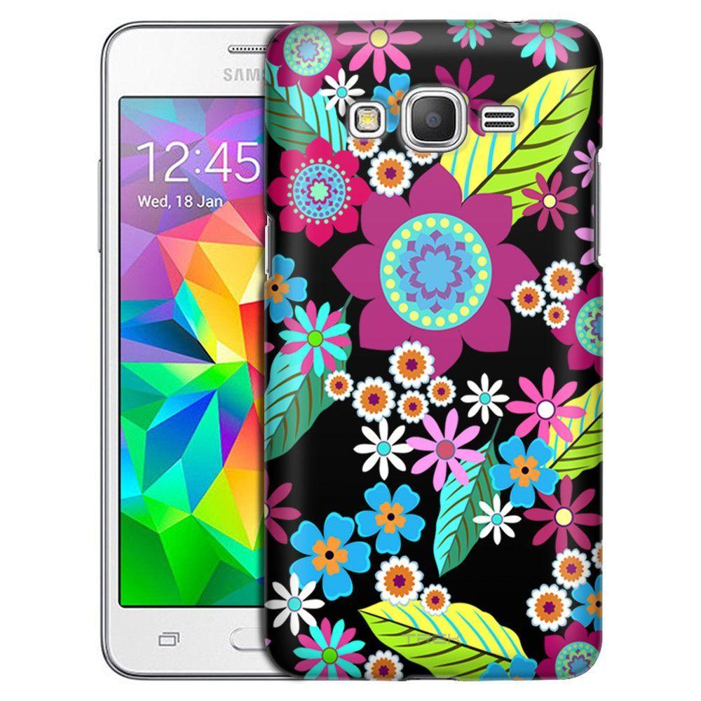 Samsung Grand Prime Retro Colorful Flower On Black Case Samsung Galaxy S6 Edge Colorful Flowers Galaxy S6 Edge