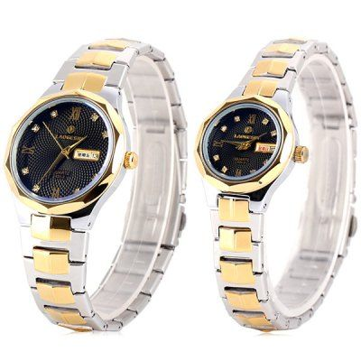 Laogeshi 431 - 3 Couple Quartz Watch Week Date Indicate and Stainless Steel Watch Band-29.06 and Free Shipping| GearBest.com
