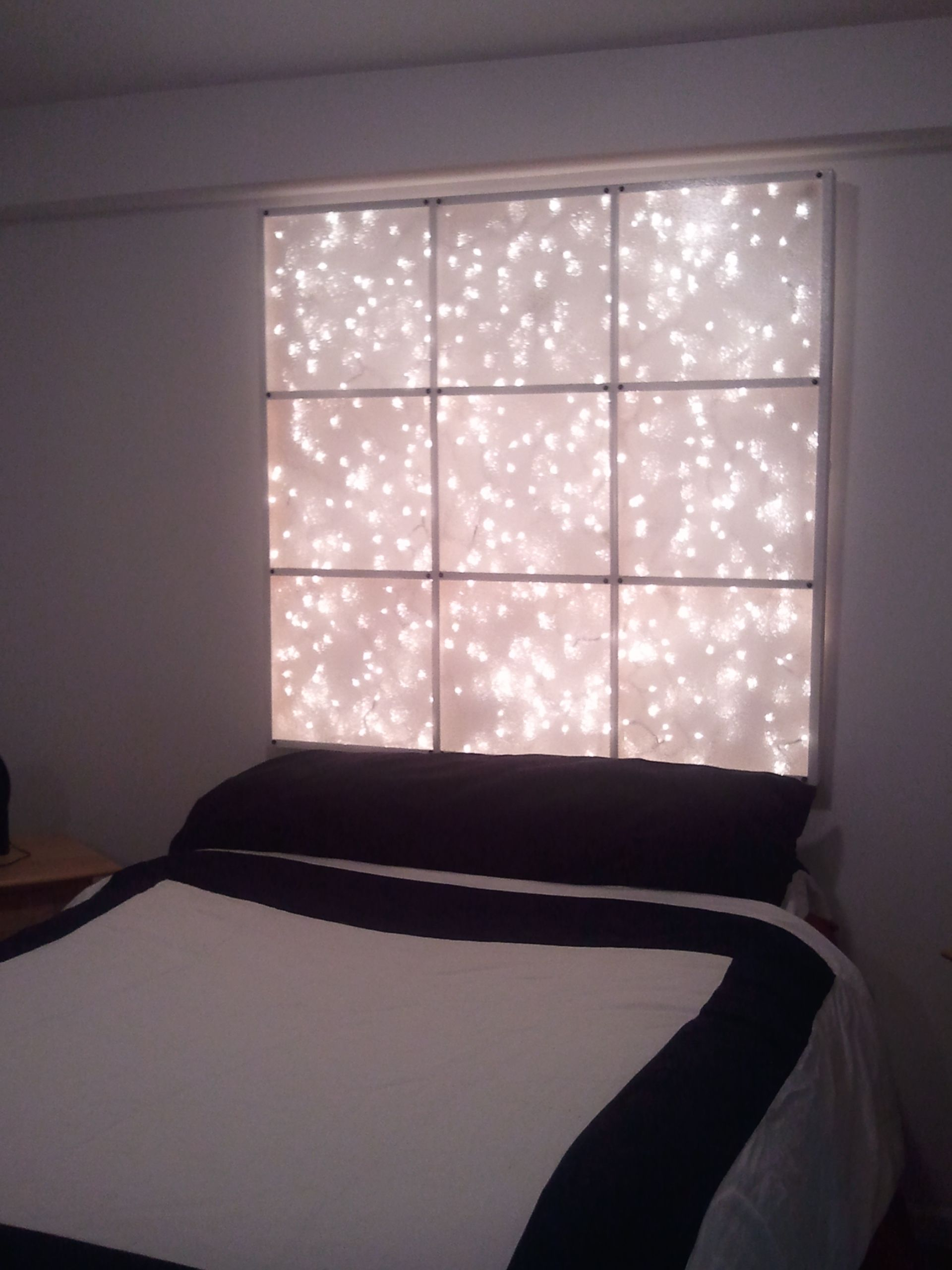 Headboard Back Lit With White Icicle Lights I Think It
