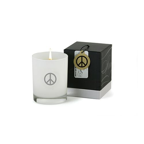 XELA aroma Inked Peace Sign Candle White up to 70% off | Home | Little Black Bag