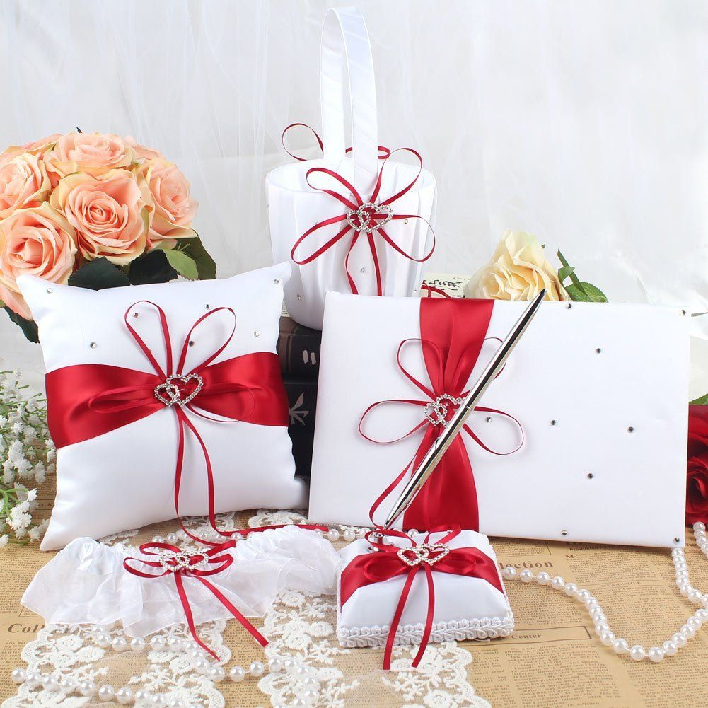1 Wedding Guest Book + 1 Pen Set + 1 Flower Girl Basket + 1 Ring ...