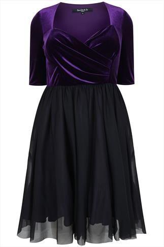 8a67e78e84b01 SCARLETT   JO Black   Purple Velvet Prom Dress