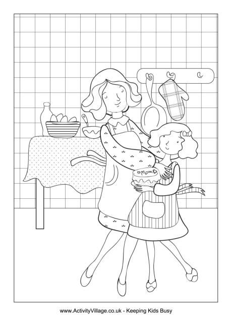 Mother And Daughter Baking Colouring Page Mothers Day Coloring Cards Coloring Pages Mothers Day Coloring Pages