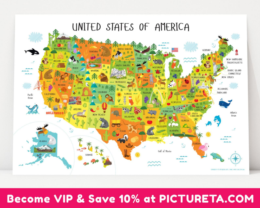 USA map, United States Map, USA, Kids Map, Map of Usa, US ...
