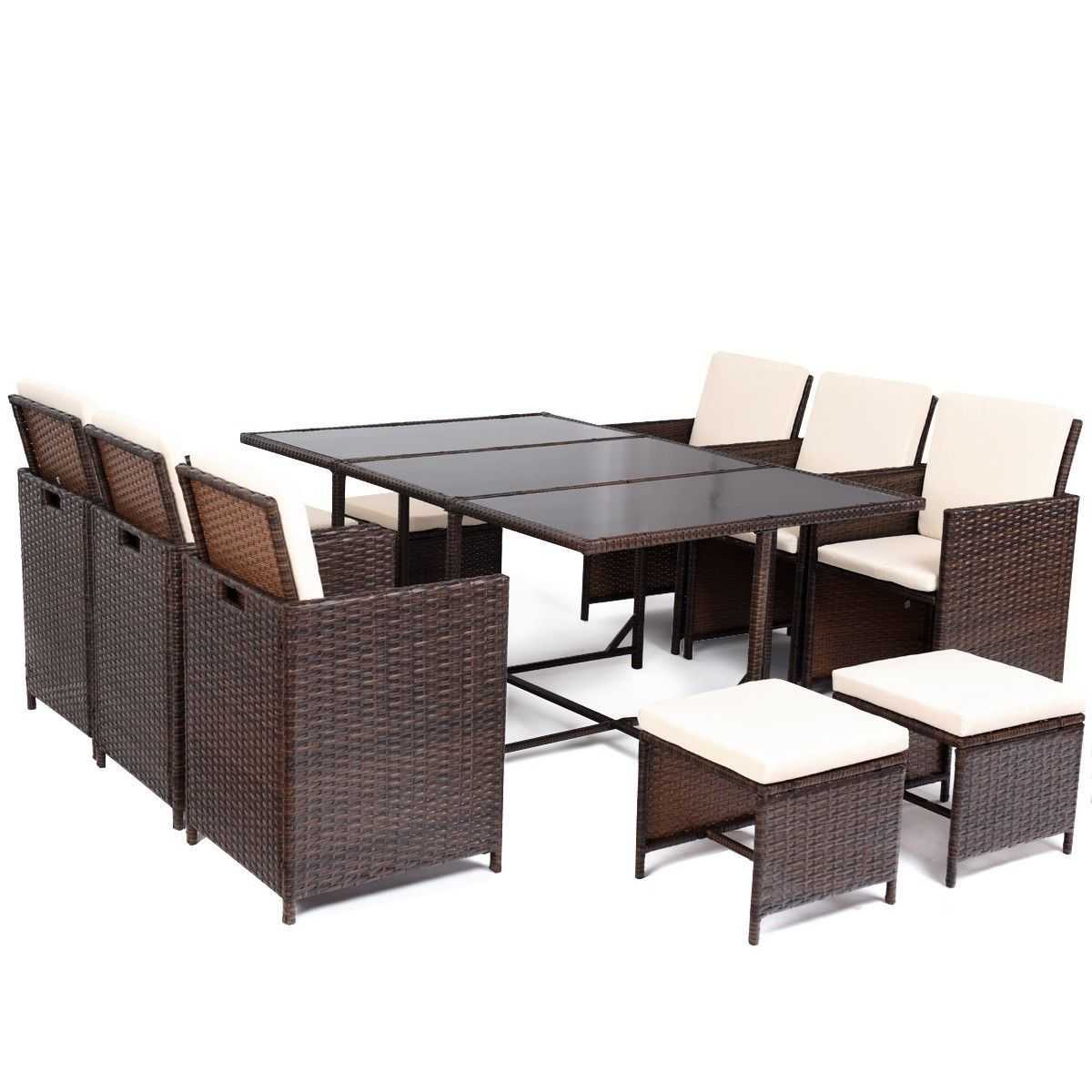 11 Pcs Outdoor Patio Dining Rattan Wicker Furniture Set 595 95