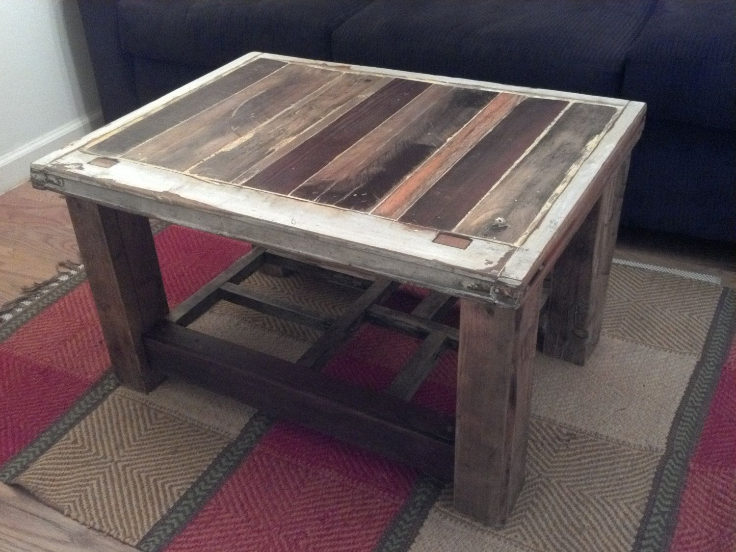 Coffee Table from Reclaimed Wood and Window frame 44500 via Etsy