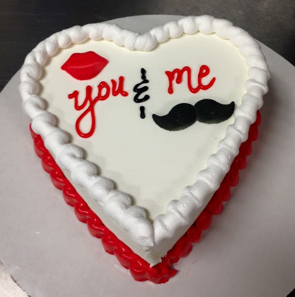 His And Hers Dq Mini Heart Ice Cream Cake With Lips And Mustache Sugar Decos Valentines Cakes And Cupcakes Dairy Queen Ice Cream Cake Cake