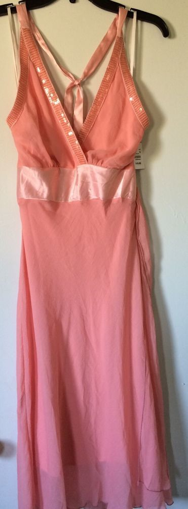 Peach pink long prom dress gown halter  top formal new NWT Size 6 coral 2