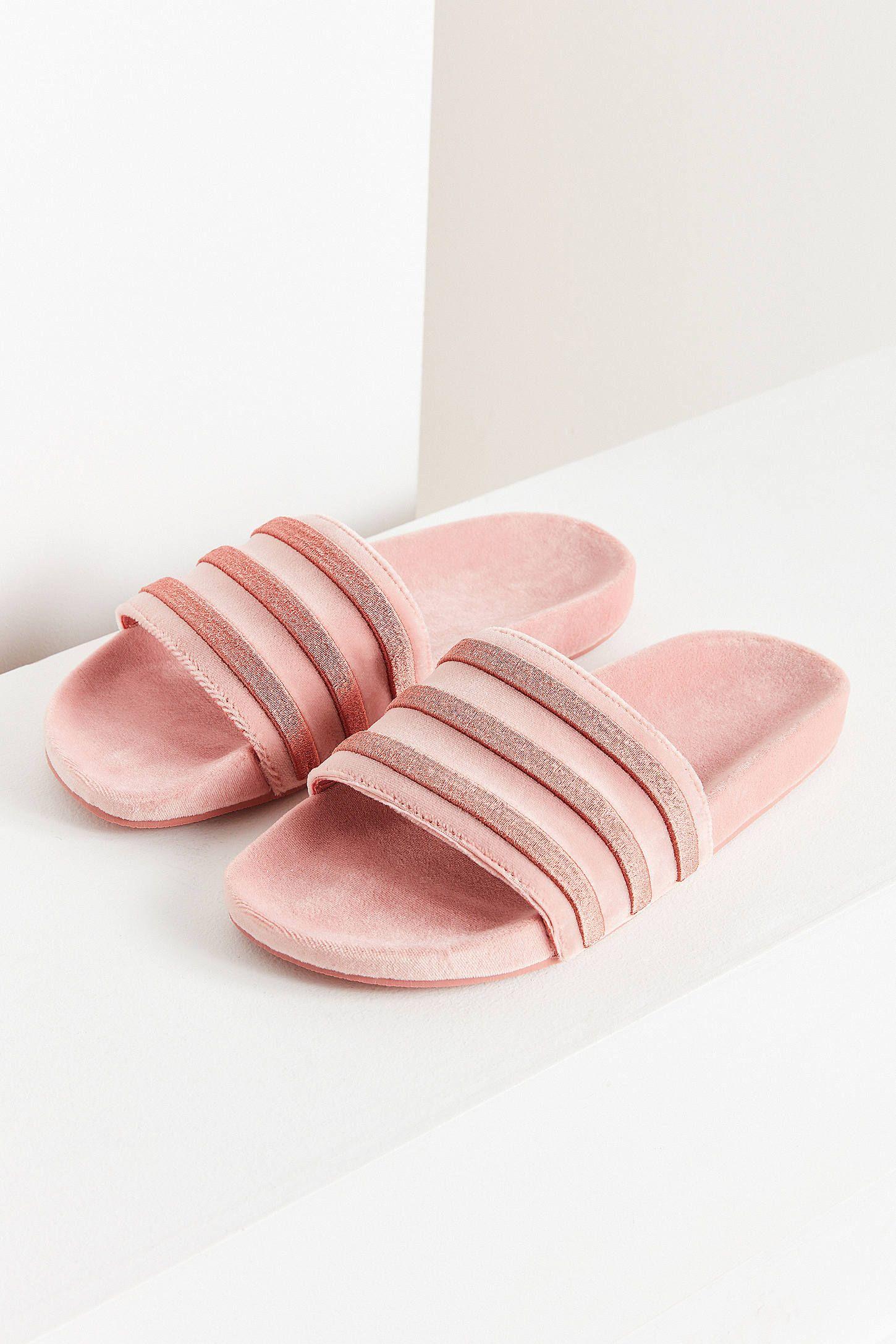 huge discount 4ca73 24415 adidas originals adilette velvet slide. urban outfitters. pink.
