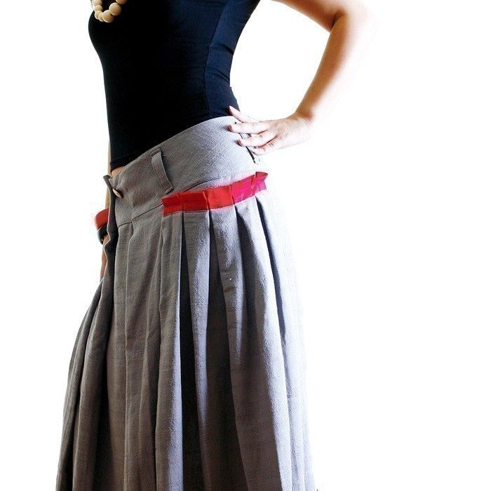 less is more RED POCKET long skirt- (gray)  Q1001. $45.00, via Etsy.