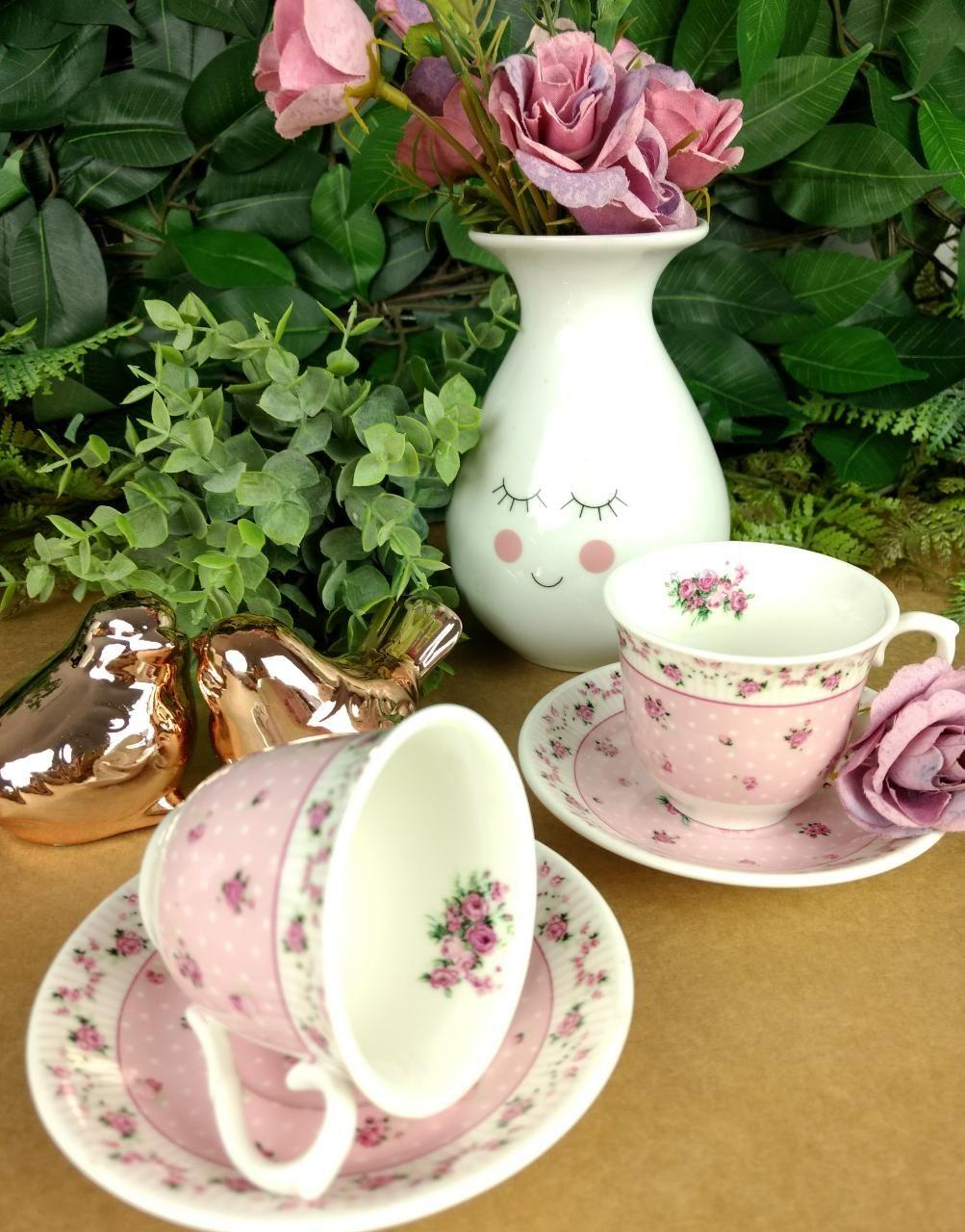 Xicara Vintage Floral Decoracao De Casa Rosa Panela Rosa Cafe Vintage