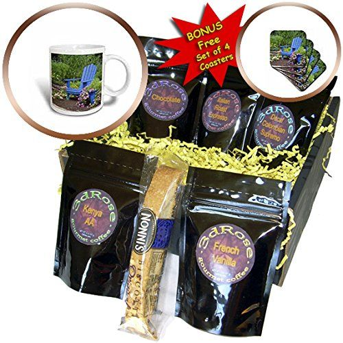 3dRose Danita Delimont - Garden - Flower garden with blue Adirondack chair and pot of flowers - Coffee Gift Baskets - Coffee Gift Basket (cgb_251044_1) *** You can find out more details at the link of the image. (This is an affiliate link) #Teapots