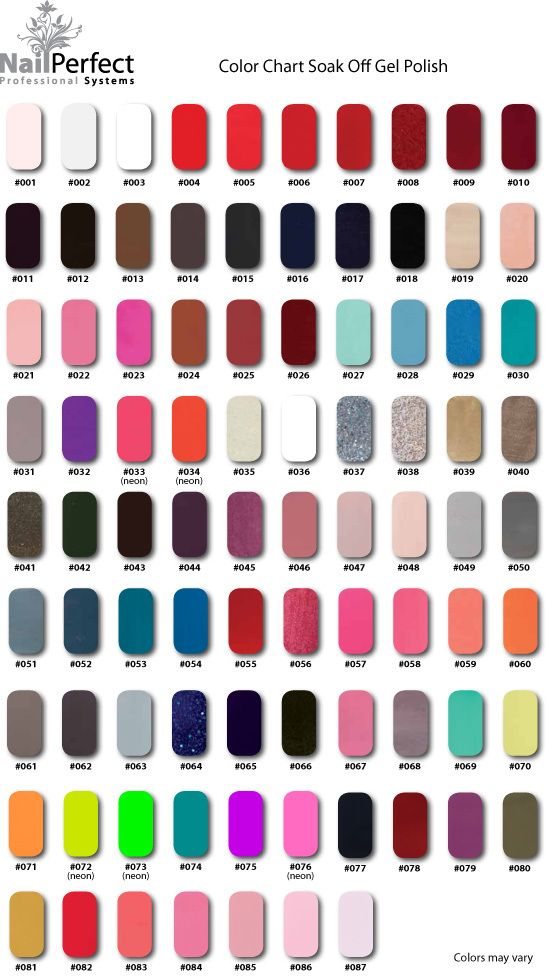 Full Color Chart Np Soak Off Gel Polishes Pre Order Nailperfect Australia Soak Off Gel Gel
