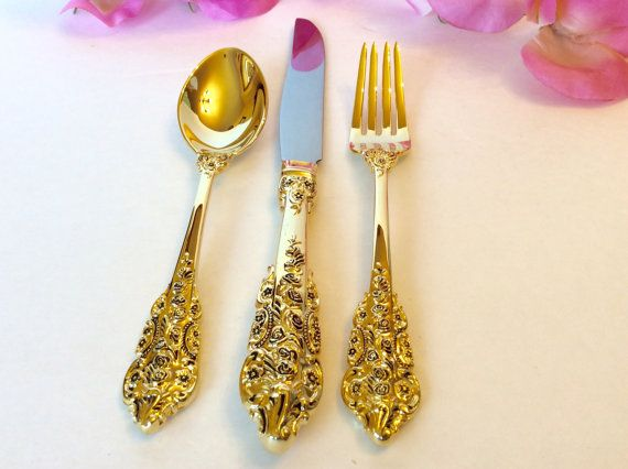 Hostess Set Gold Flatware Flower Pattern Gravy Ladle Cheese Slicer Serving Spoon and Fork Anniversary Wedding Tableware Golden Goldtone & 45-Piece Gold-Plated Baroque Flatware Service - Neiman Marcus; I ...