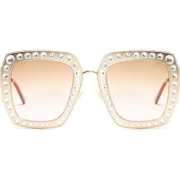 4cc3ac1604 Gucci Oversized embellished square-frame sunglasses ( 955) ❤ liked on Polyvore  featuring accessories