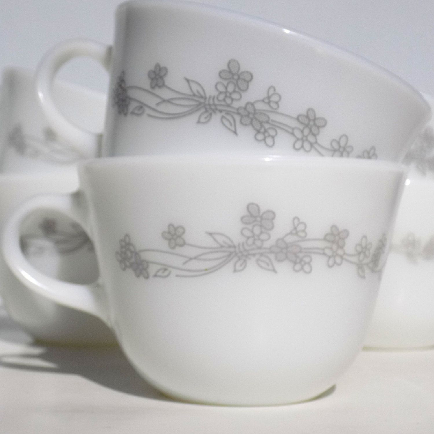Vintage Corning Ribbon Bouquet Tea Cups Coffee Mugs, Gray Floral on ...